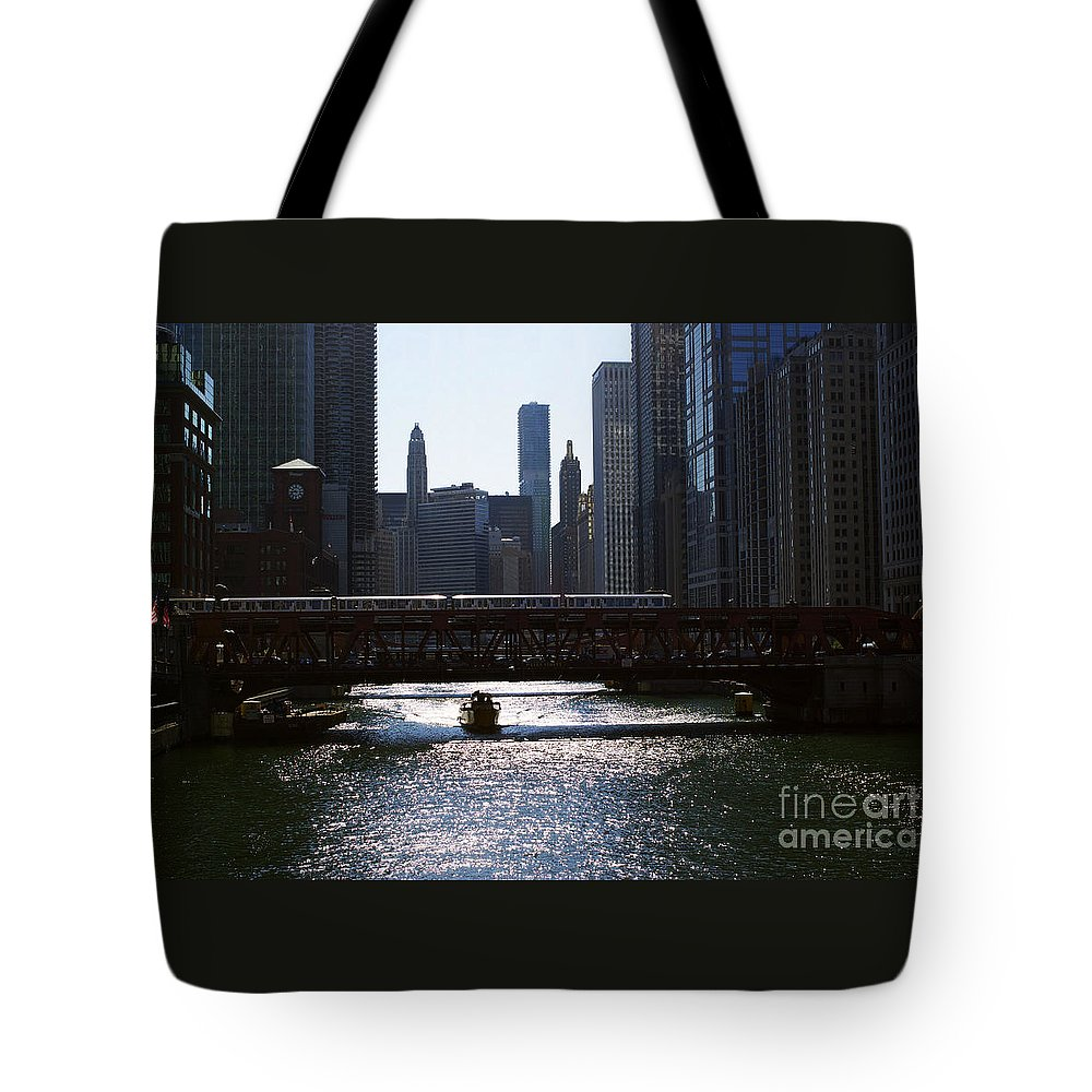 Cityscape Tote Bag featuring the photograph Chicago Morning Commute by Frank J Casella