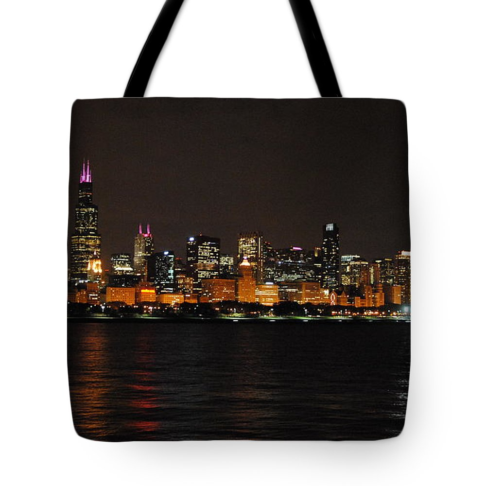 Chicago Tote Bag featuring the photograph Chicago Night Skyline by Georgia Fowler