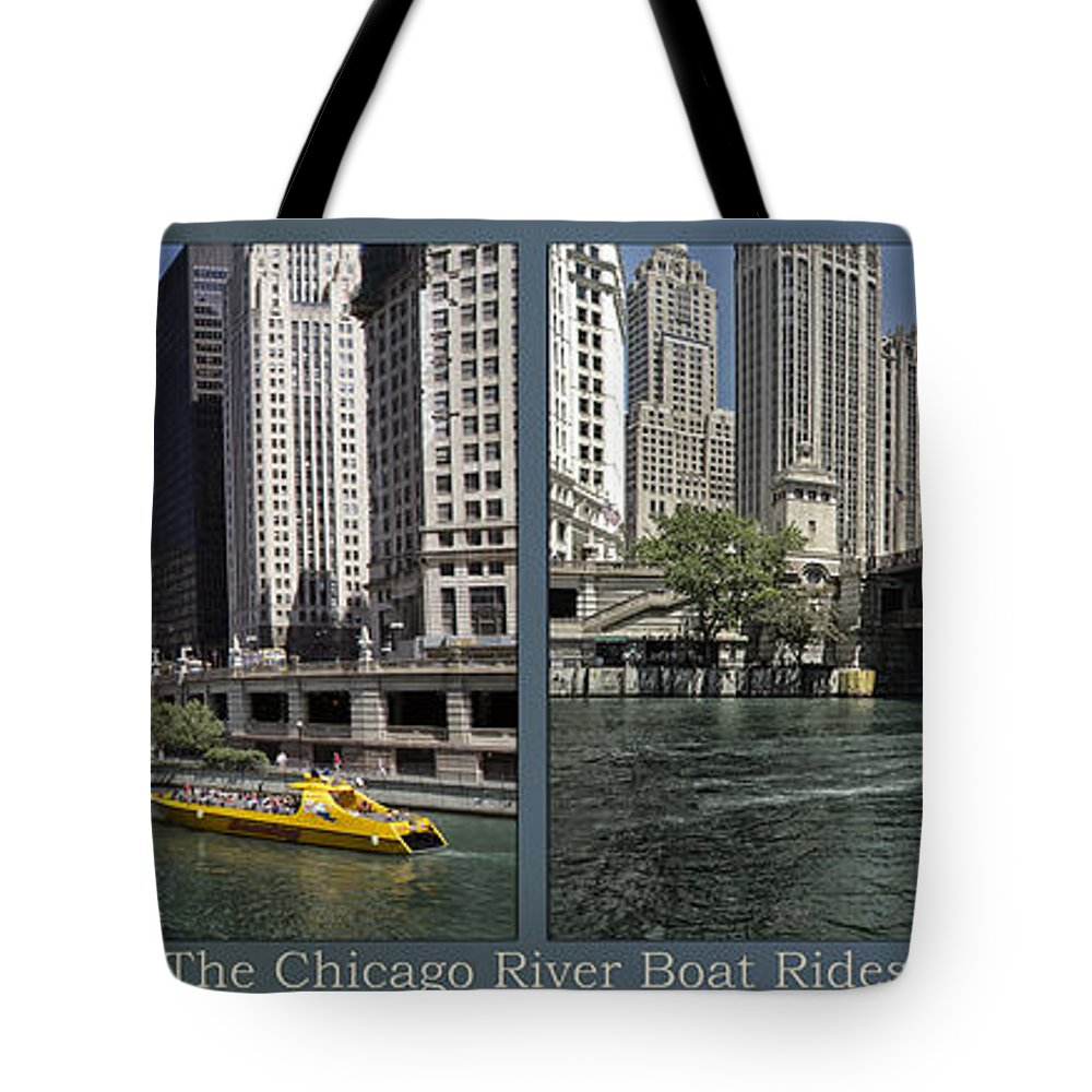 Riverwalk Tote Bag featuring the photograph Chicago River Boat Rides 2 Panel by Thomas Woolworth