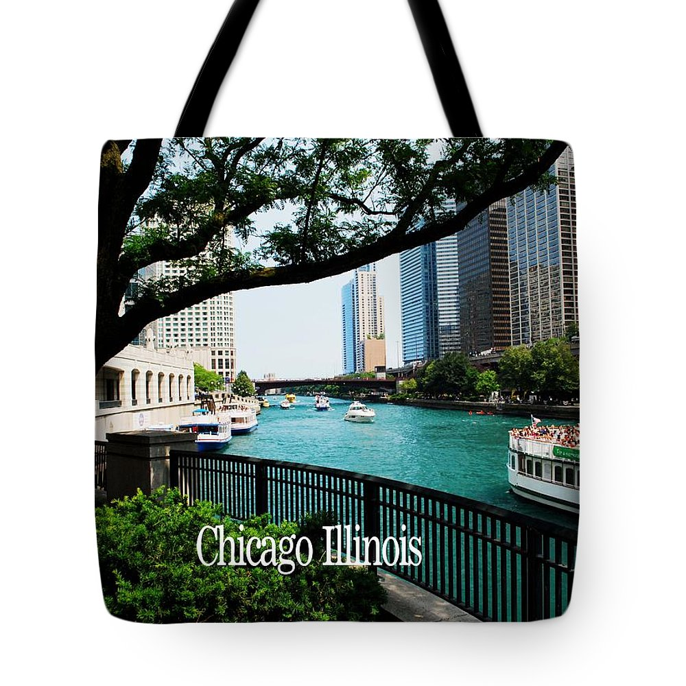 Illinois Tote Bag featuring the photograph Chicago River Front by Gary Wonning