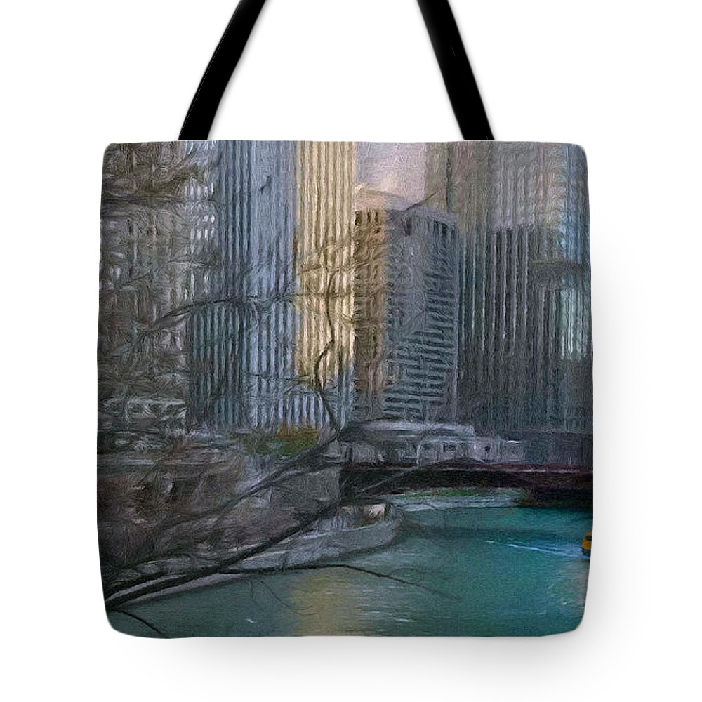 Architecture Tote Bag featuring the painting Chicago River Sunset by Jeffrey Kolker