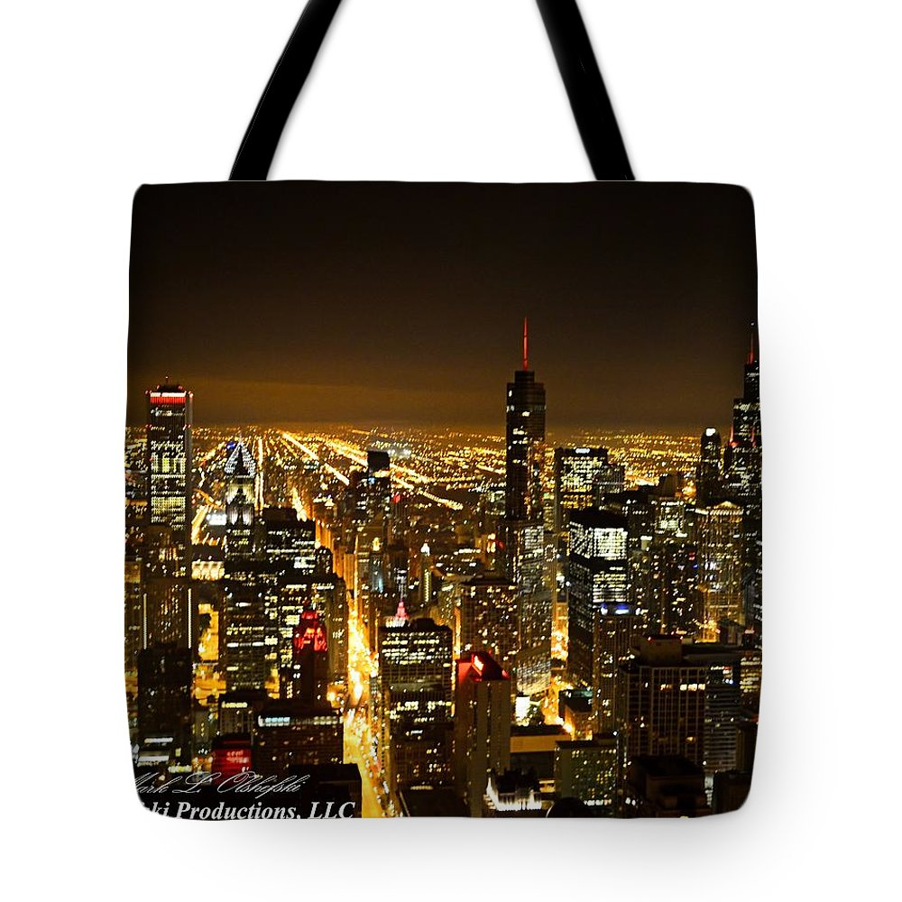 Chicago Tote Bag featuring the photograph Chicago Skyline At Night I by Mark Olshefski