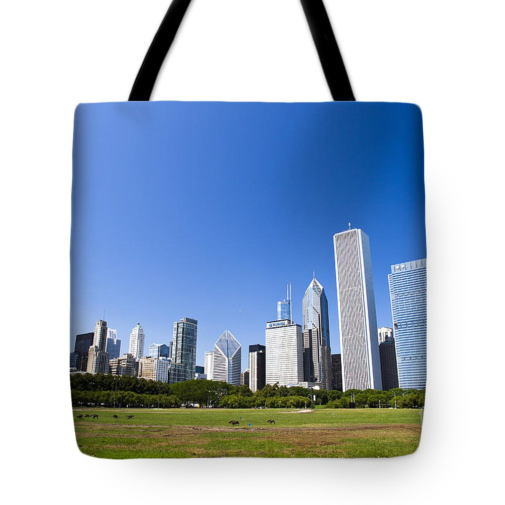 Chicago Tote Bag featuring the photograph Chicago Skyline From Grant Park by Ohad Shahar