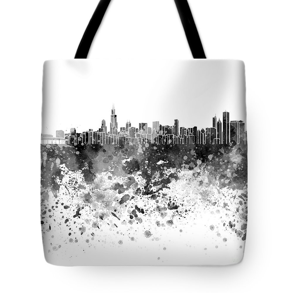 Chicago Skyline; Chicago; Skyline; Illinois; United States; North America; Watercolor; Background; Abstract; Paint; Color; Splash; Colorful; Art; Texture; Grunge; Paper; Ink; Illustration; Bright; Vintage; Splatter; Creativity; Architecture; Cityscape; Landmark; Monuments; Panoramic Tote Bag featuring the painting Chicago Skyline In Black Watercolor On White Background by Pablo Romero