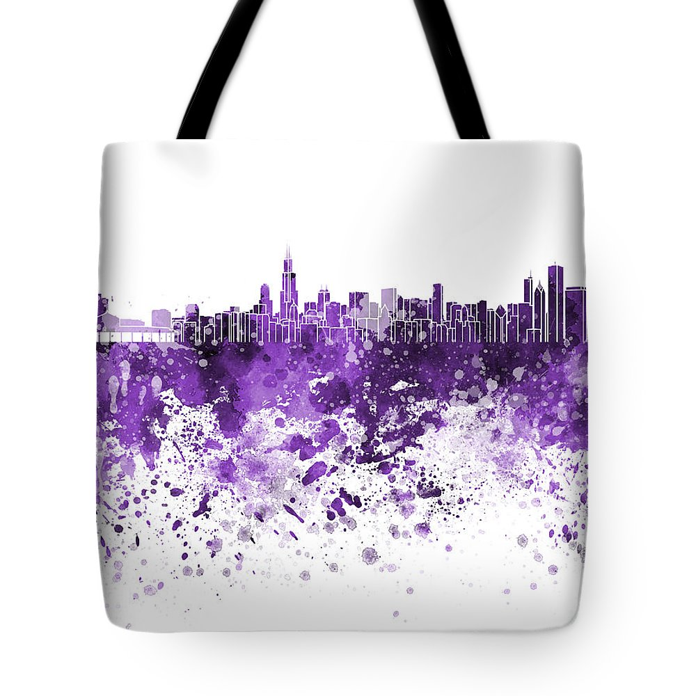 Chicago Skyline; Chicago; Skyline; Illinois; United States; North America; Watercolor; Background; Abstract; Paint; Color; Splash; Colorful; Art; Texture; Grunge; Paper; Ink; Illustration; Bright; Vintage; Splatter; Creativity; Architecture; Cityscape; Landmark; Monuments; Panoramic Tote Bag featuring the painting Chicago Skyline In Purple Watercolor On White Background by Pablo Romero