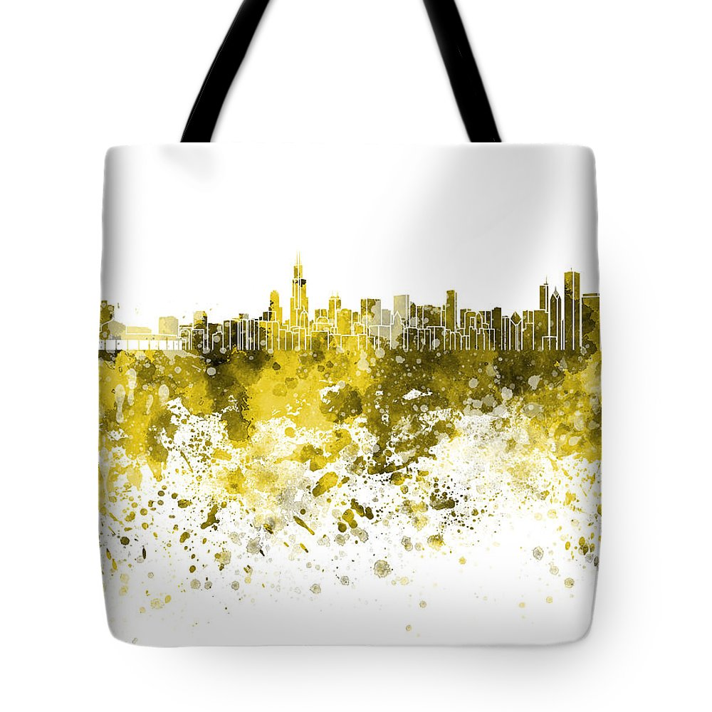 Chicago Skyline; Chicago; Skyline; Illinois; United States; North America; Watercolor; Background; Abstract; Paint; Color; Splash; Colorful; Art; Texture; Grunge; Paper; Ink; Illustration; Bright; Vintage; Splatter; Creativity; Architecture; Cityscape; Landmark; Monuments; Panoramic Tote Bag featuring the painting Chicago Skyline In Yellow Watercolor On White Background by Pablo Romero