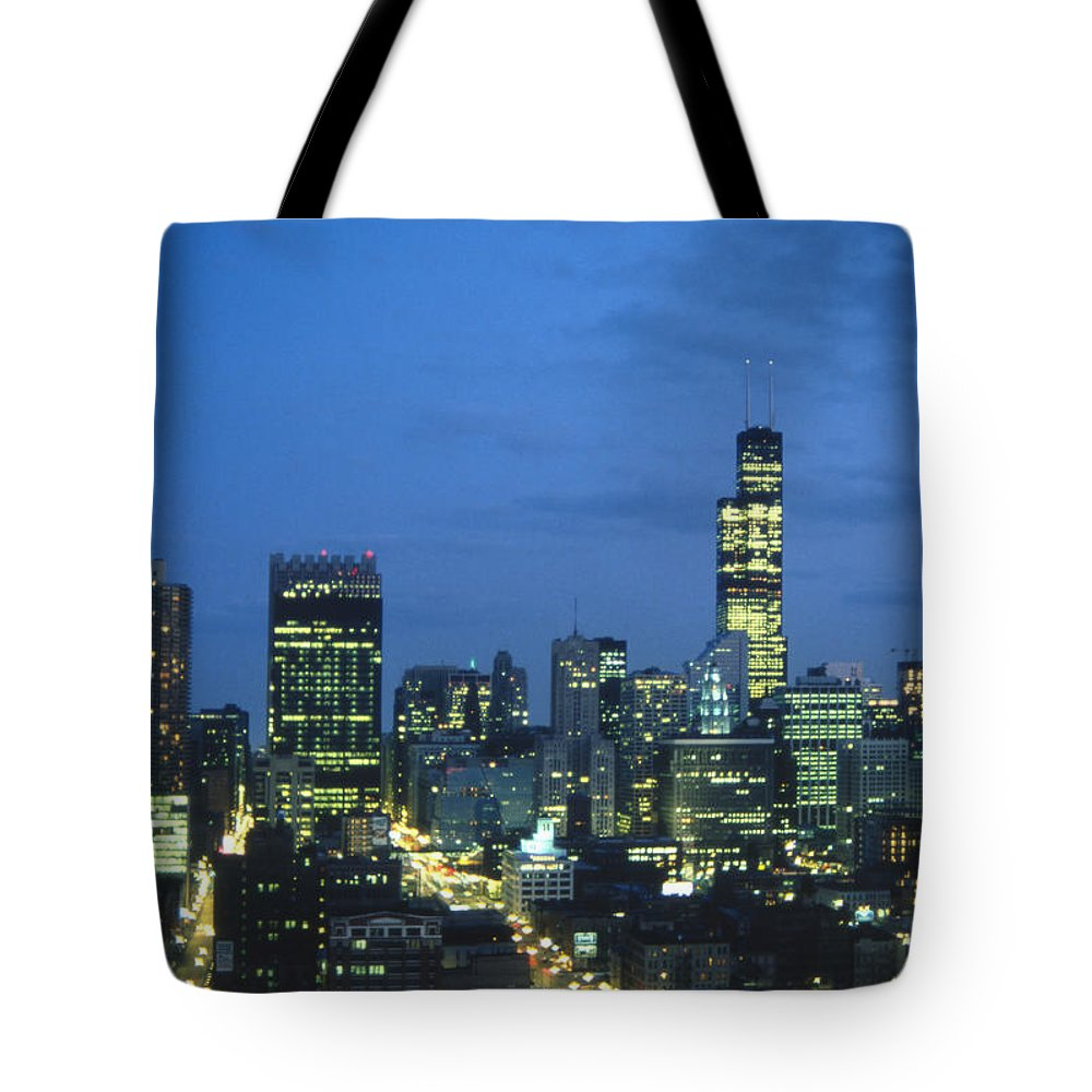 Chicago Tote Bag featuring the photograph Chicago Skyline May 1983 Twilight by Lee Newell