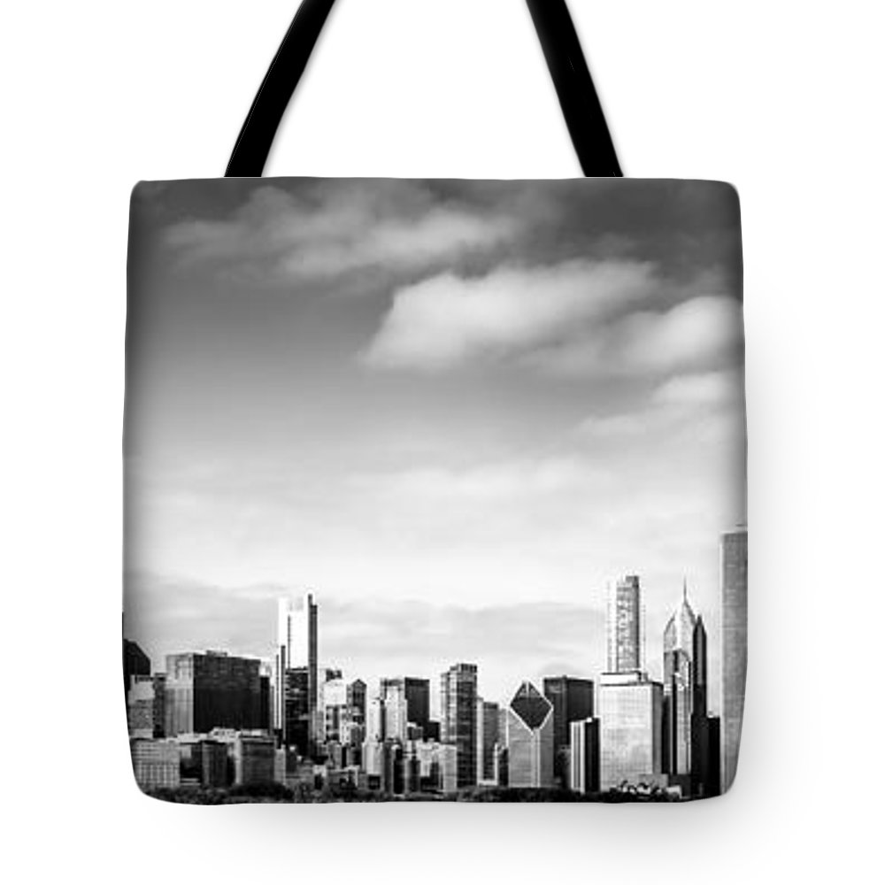 America Tote Bag featuring the photograph Chicago Skyline Panoramic Black And White Picture by Paul Velgos