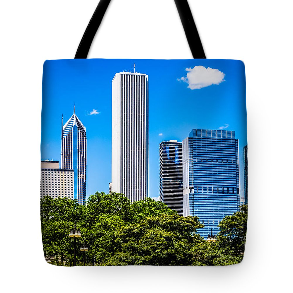 America Tote Bag featuring the photograph Chicago Skyline With Grant Park Trees by Paul Velgos