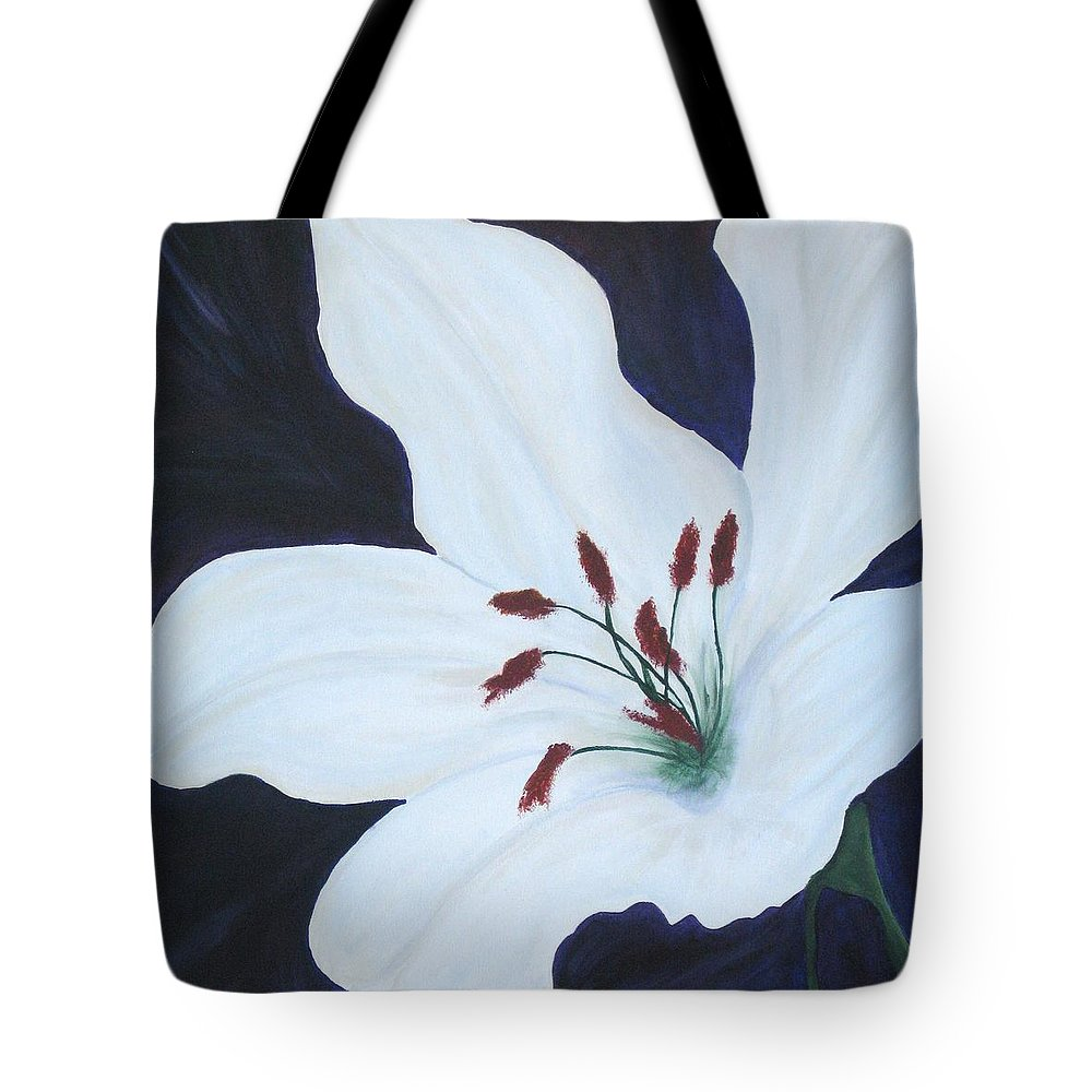 White Tote Bag featuring the painting Chicago Snow White Lusterlily by Deborah Schuster