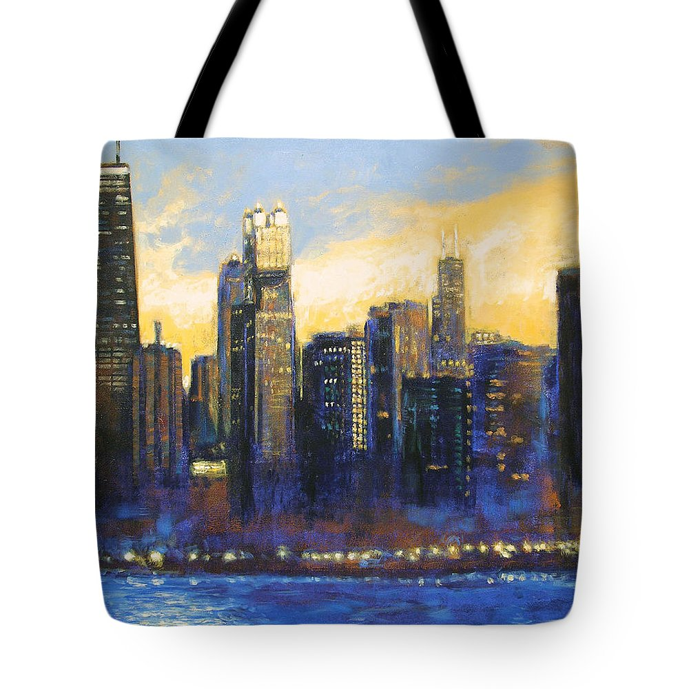 Chicago Skyline Tote Bag featuring the painting Chicago Sunset Looking South by Joseph Catanzaro