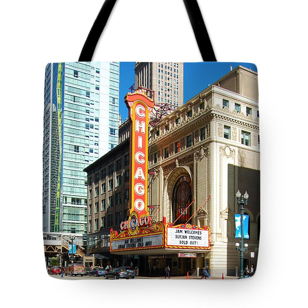 Chicago Tote Bag featuring the photograph Chicago Theater Marquee Sign On State Street by Jessica Kirsh