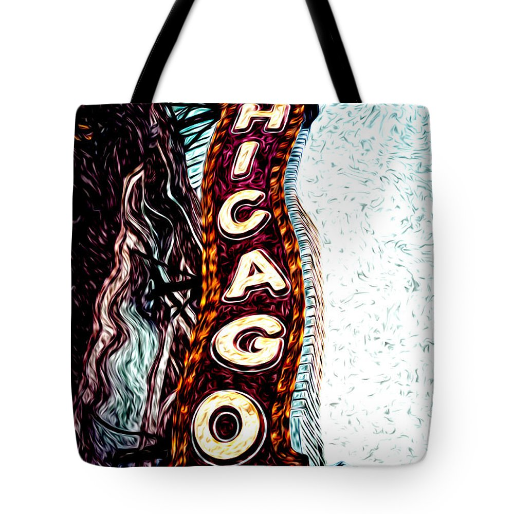 America Tote Bag featuring the photograph Chicago Theatre Sign Digital Art by Paul Velgos
