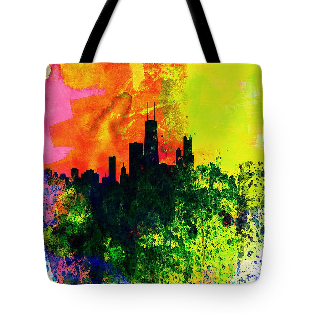 Chicago Tote Bag featuring the painting Chicago Watercolor Skyline by Naxart Studio