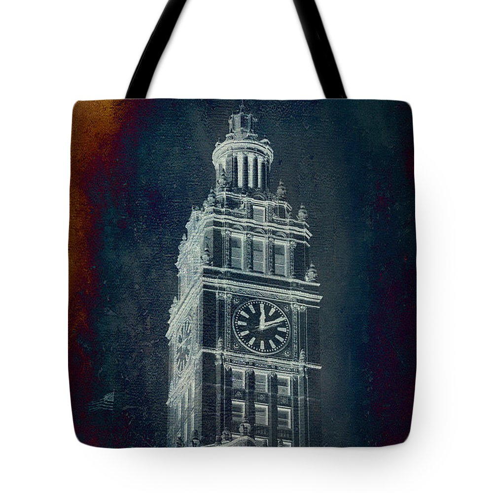 Chicago Tote Bag featuring the photograph Chicago Wrigley Clock Tower Textured by Thomas Woolworth