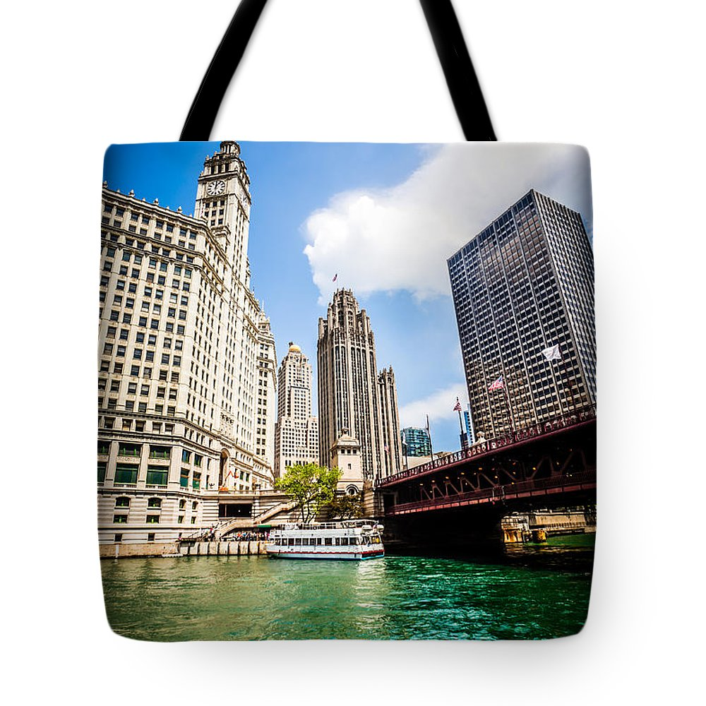 America Tote Bag featuring the photograph Chicago Wrigley Tribune Equitable Buildings Photo by Paul Velgos