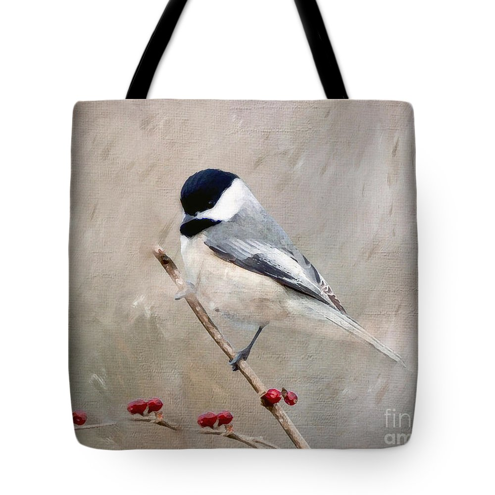 Chickadee Tote Bag featuring the photograph Chickadee And Berries by Kerri Farley