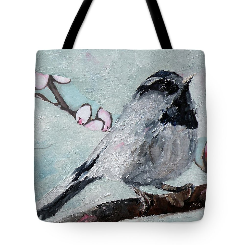 Chickadee Tote Bag featuring the painting Chickadee by Saundra Lane Galloway