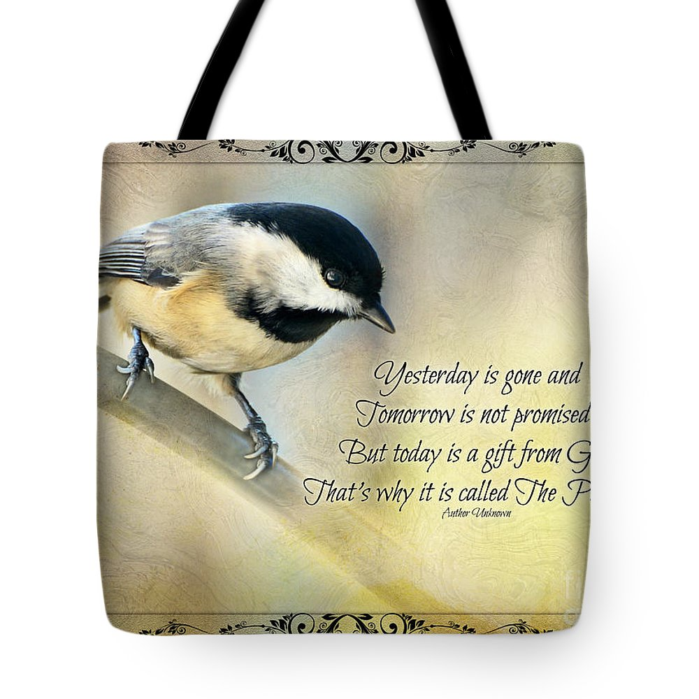 Nature Tote Bag featuring the photograph Chickadee With Inspiration by Debbie Portwood