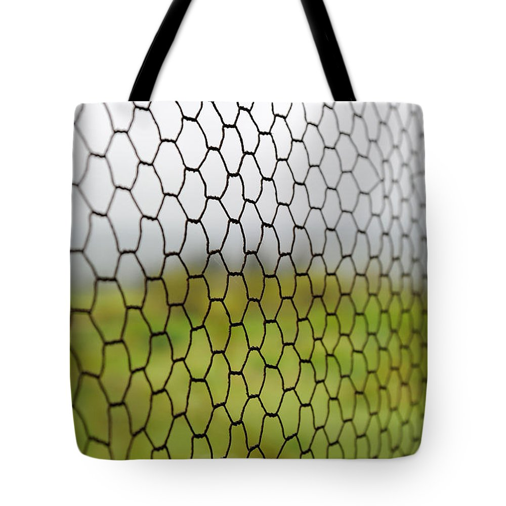 Chicken Wire Tote Bag featuring the photograph Chicken View by Grigorios Moraitis