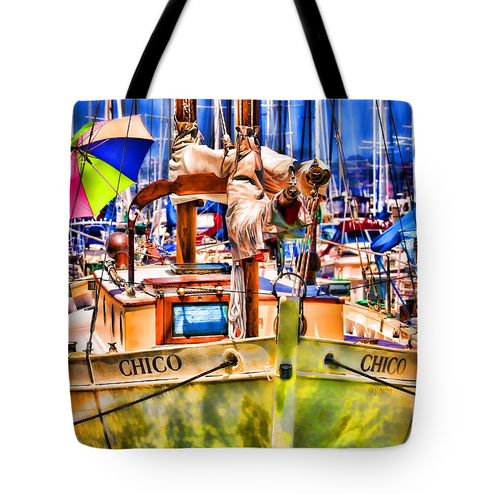 Boat Tote Bag featuring the photograph Chico Sail Boat By Diana Sainz by Diana Raquel Sainz
