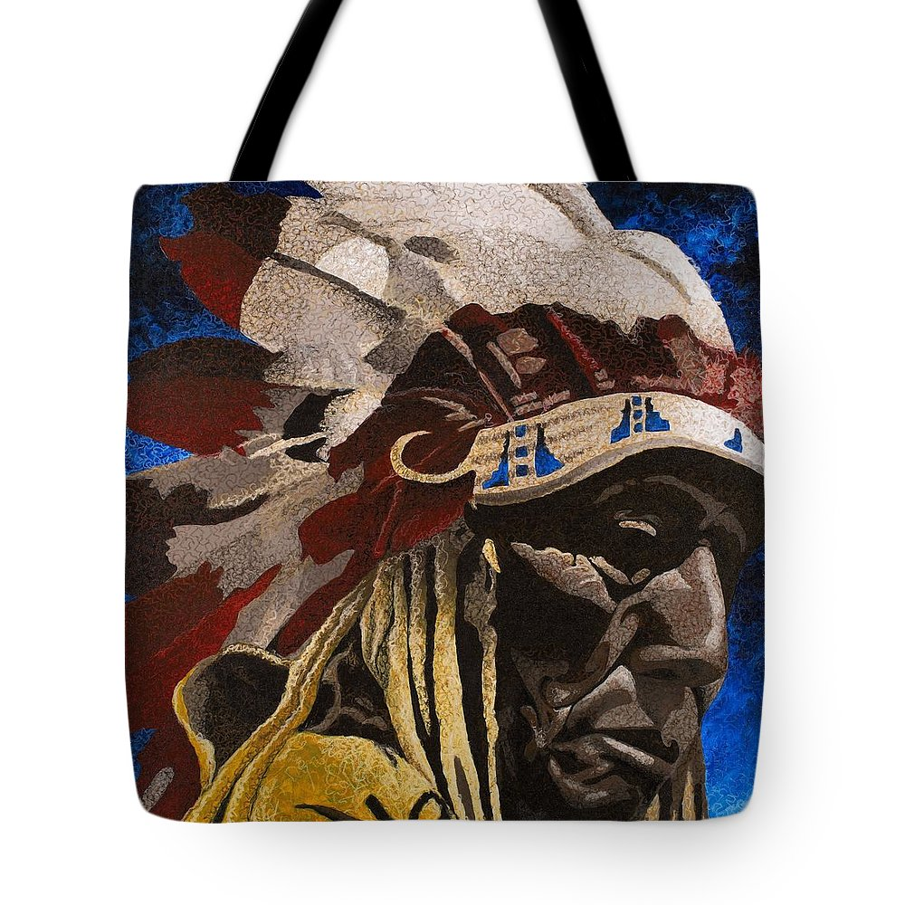 Native American Tote Bag featuring the painting Chief by C Ryan Pierce
