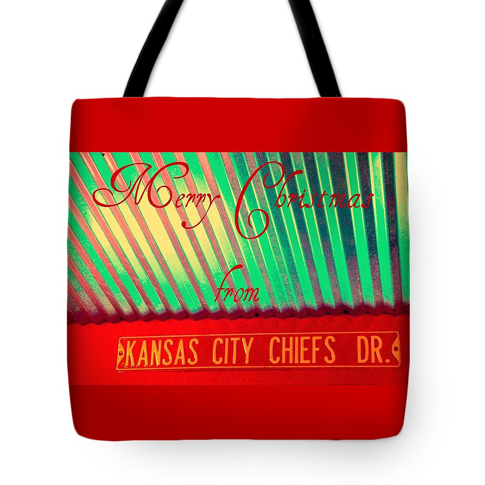 Christmas Tote Bag featuring the photograph Chiefs Christmas by Chris Berry