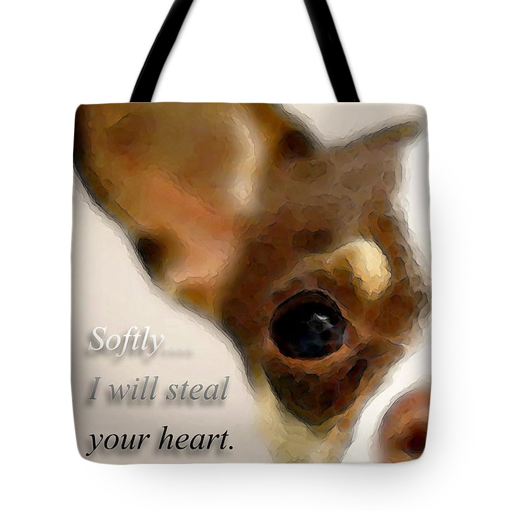 Chihuahua Tote Bag featuring the painting Chihuahua Dog Art - The Thief by Sharon Cummings