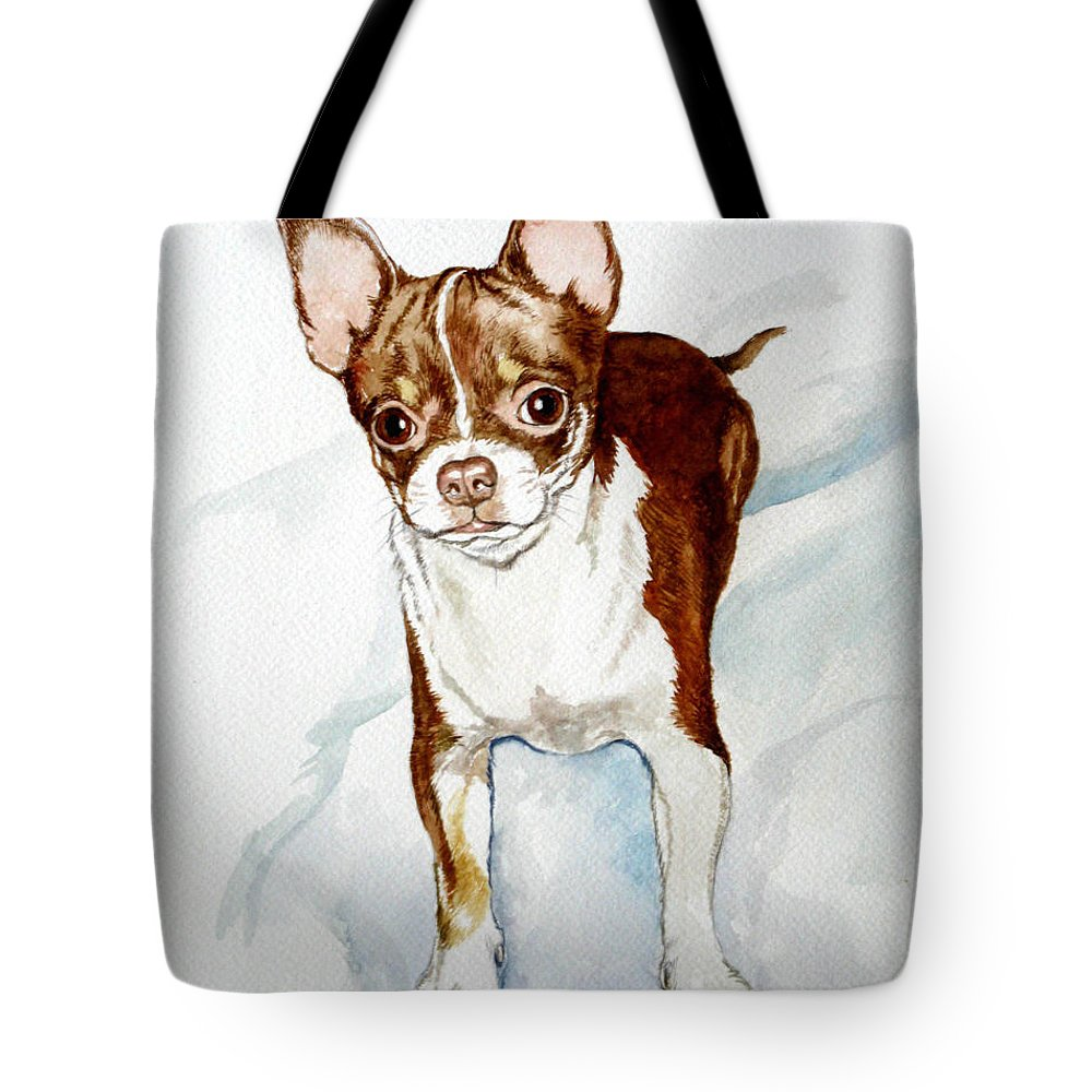 Dog Tote Bag featuring the painting Chihuahua White Chocolate Color. by Christopher Shellhammer