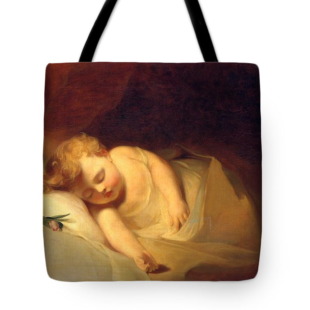 Child Asleep (the Rosebud) Tote Bag featuring the painting Child Asleep by Celestial Images