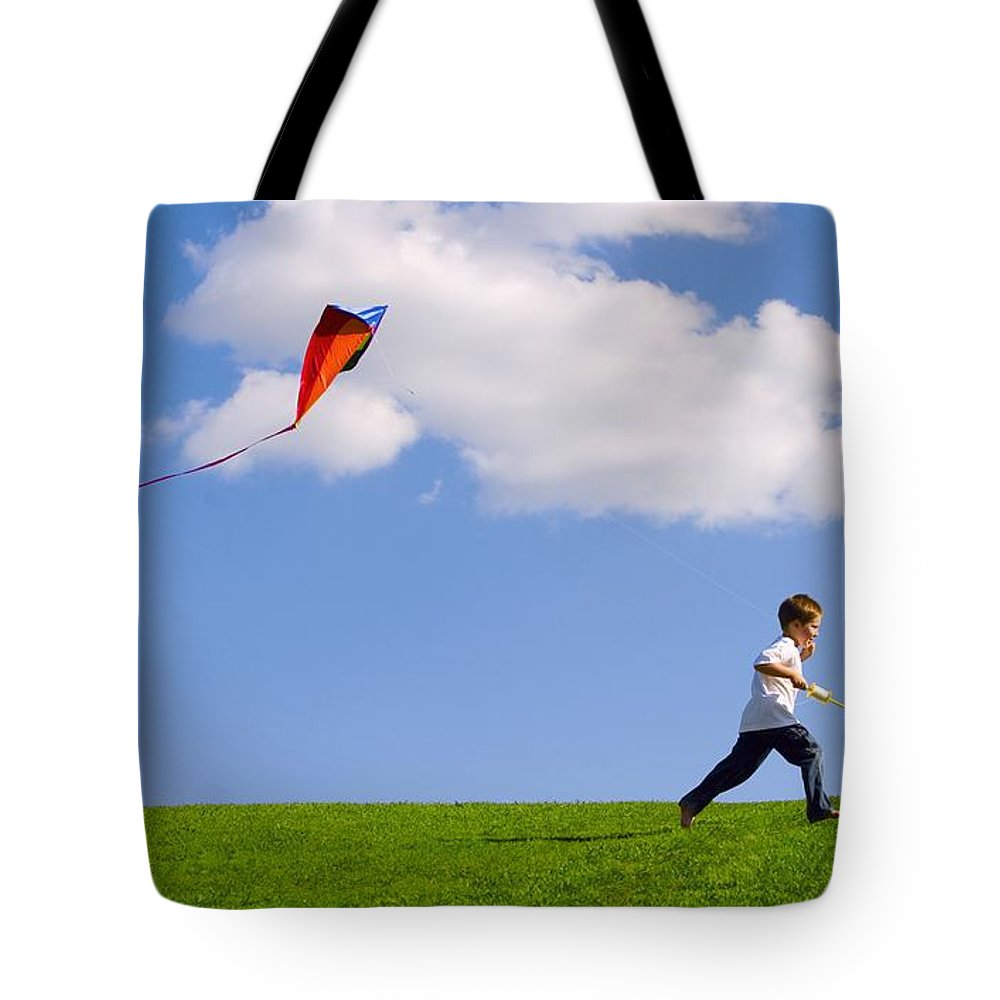 Flying A Kite Photographs Tote Bags