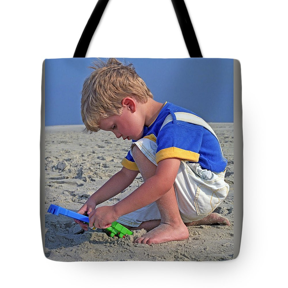 Beach Tote Bag featuring the photograph Childhood Beach Play by Marie Hicks