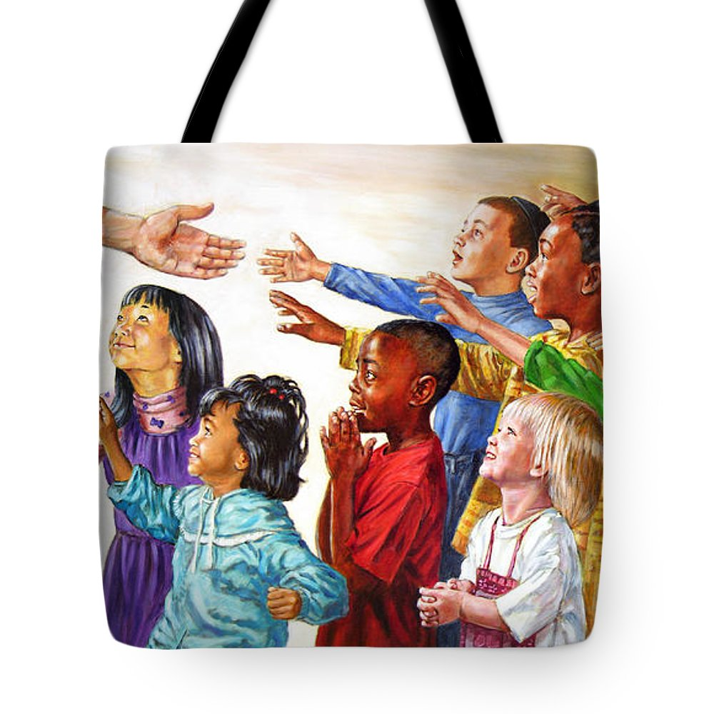 Jesus Tote Bag featuring the painting Children Coming To Jesus by John Lautermilch