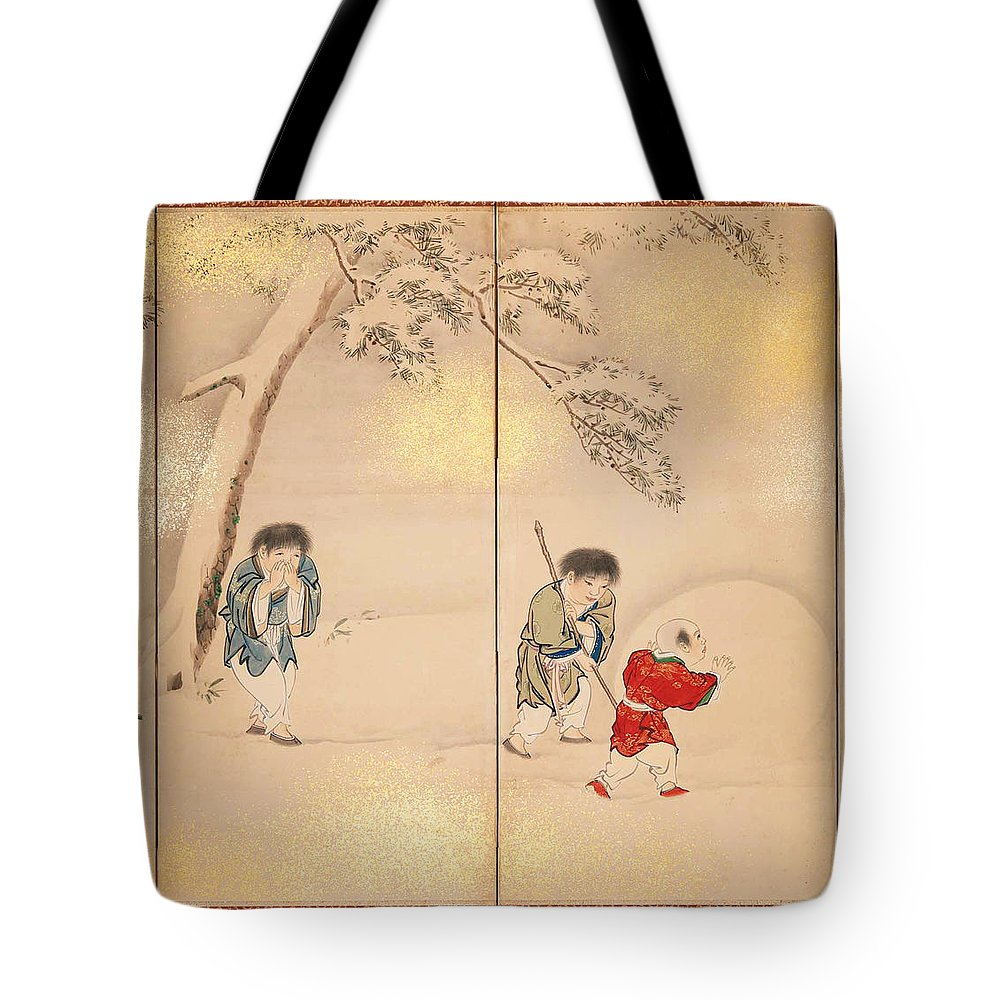 Maruyama Oshin Tote Bag featuring the painting Children Playing In Summer And Winter by Maruyama Oshin