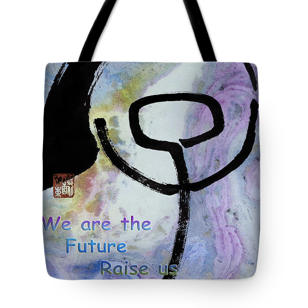 Zen Tote Bag featuring the mixed media Children Raise Us Well by Peter v Quenter