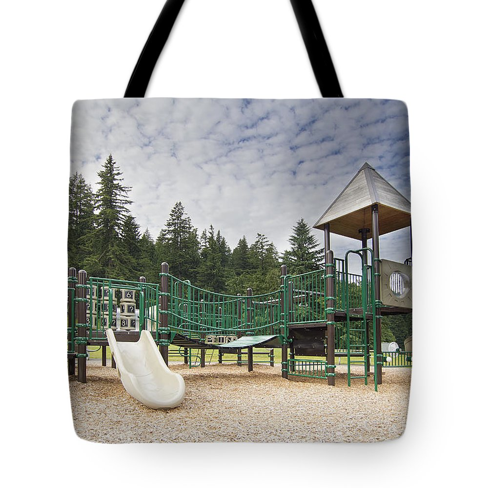Children Tote Bag featuring the photograph Childrens Playground At Lake Merwin Park by Jit Lim