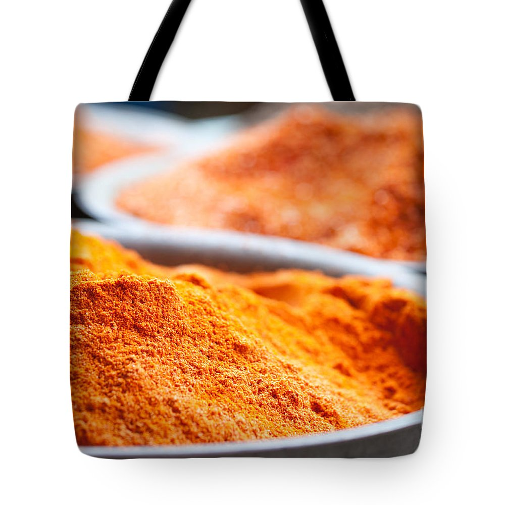 China Tote Bag featuring the photograph Chili Powder At Local Street Market In Dunhuang China by Matteo Colombo