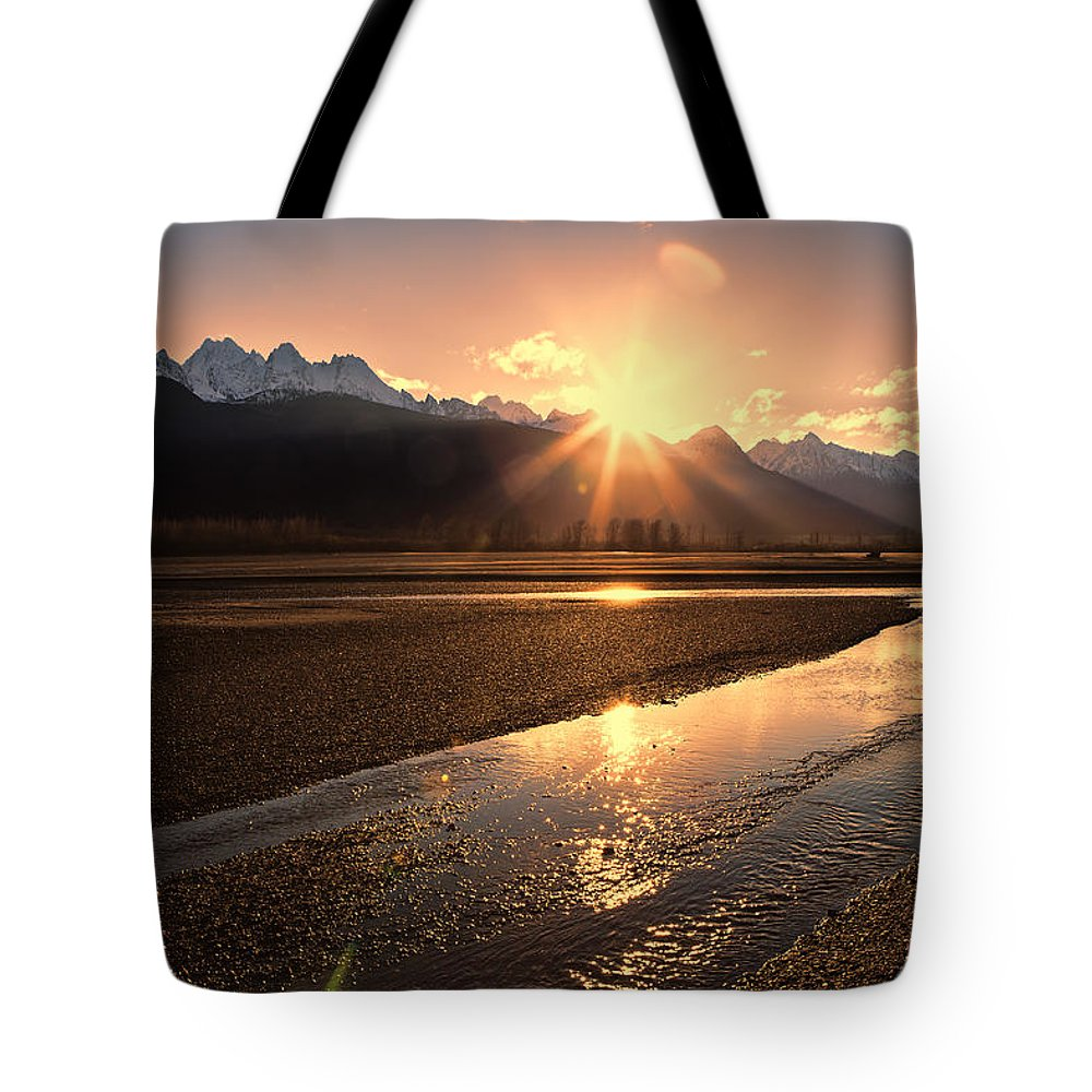 Chilkat Mountains Tote Bag featuring the photograph Chilkat River Sunset by Michele Cornelius