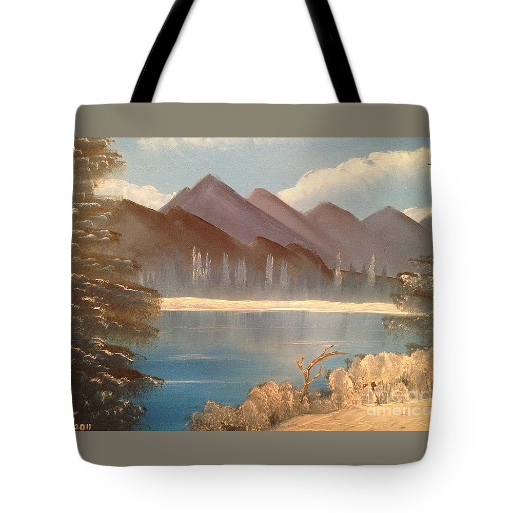 Original Tote Bag featuring the painting Chilly Mountain Lake by Tim Blankenship