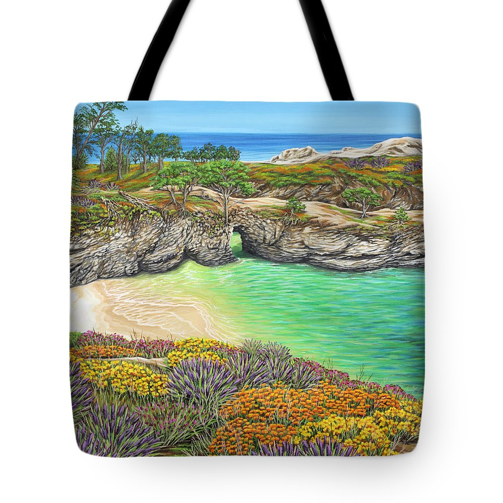 Ocean Tote Bag featuring the painting China Cove Paradise by Jane Girardot