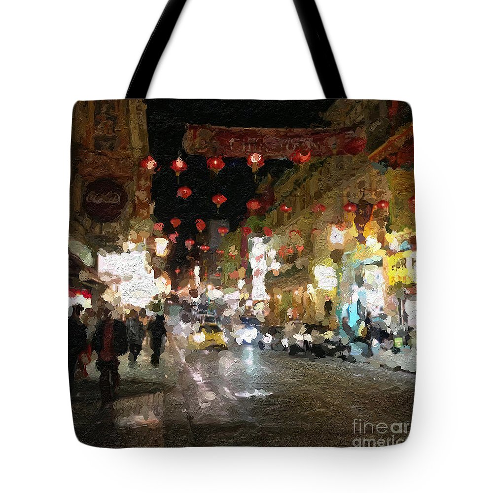 san Francisco Tote Bag featuring the painting China Town At Night by Linda Woods