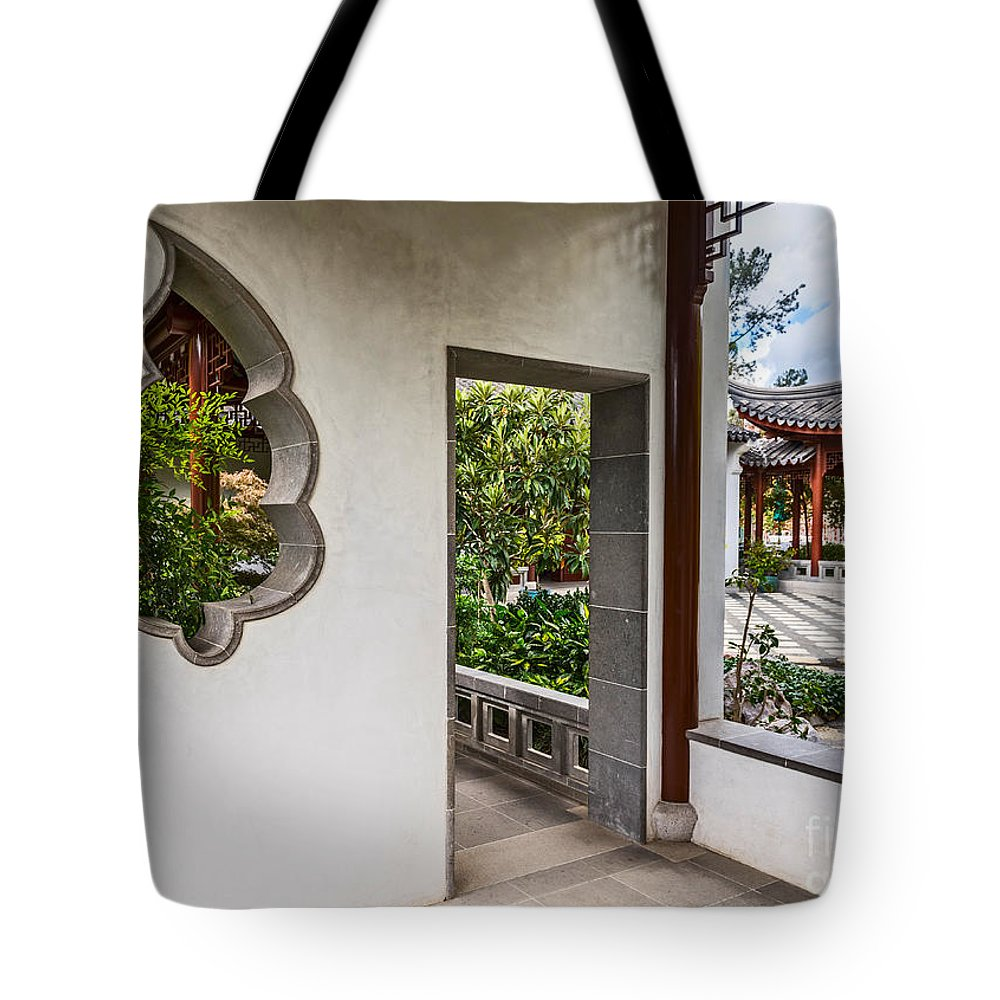 Chinese Garden Tote Bag featuring the photograph Chinese Courtyard by Jamie Pham