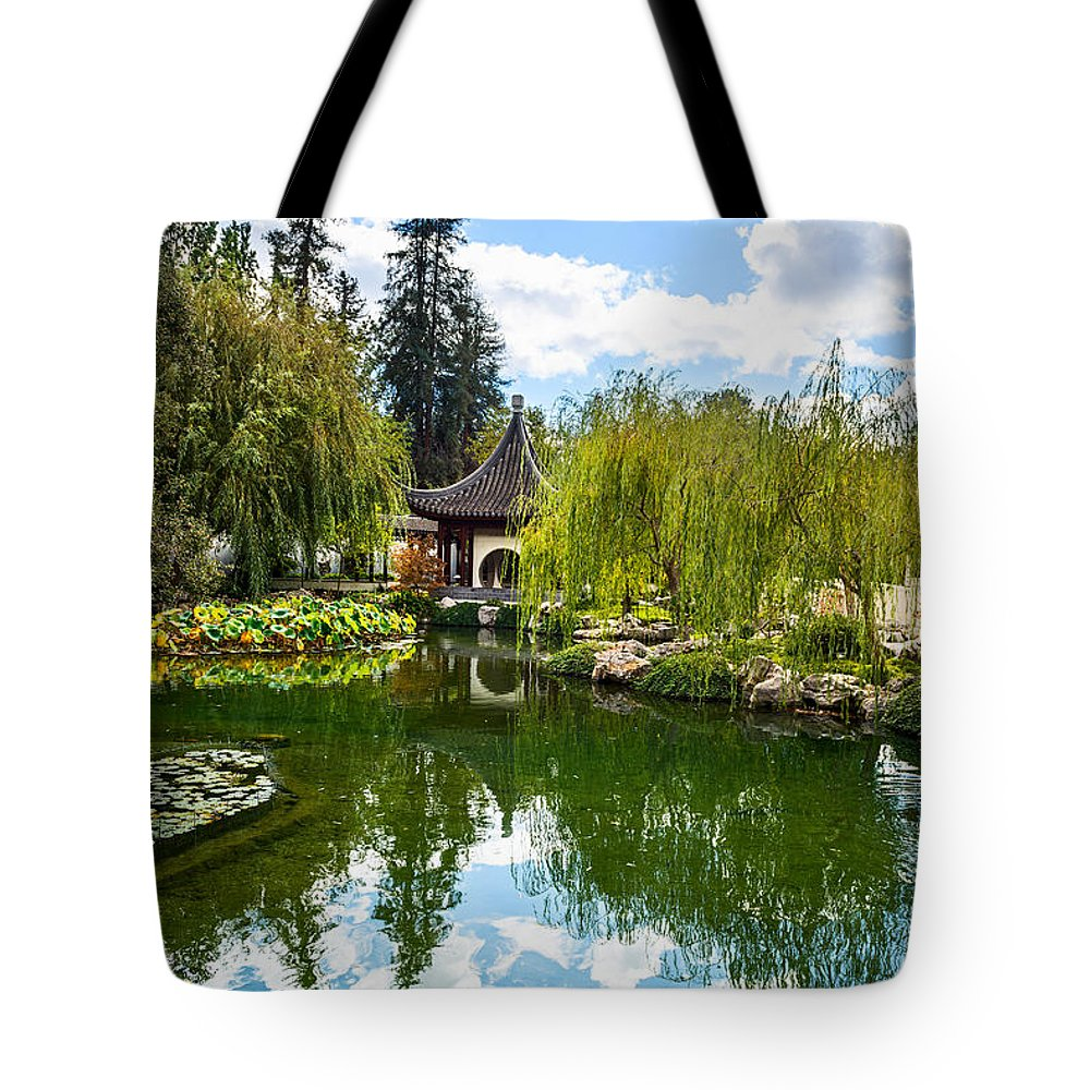 Chinese Garden Tote Bag featuring the photograph Chinese Garden And Sky by Jamie Pham