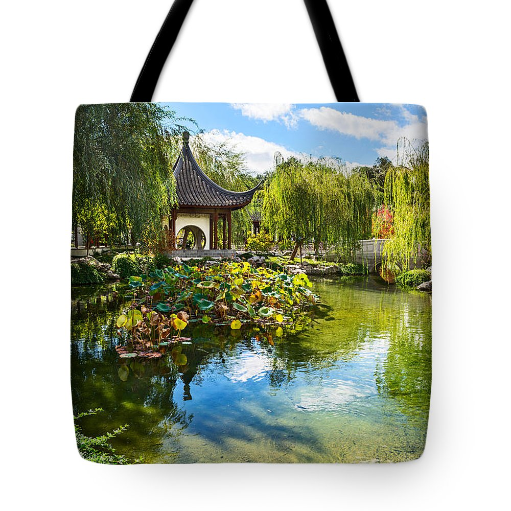Chinese Garden Tote Bag featuring the photograph Chinese Garden Lake by Jamie Pham
