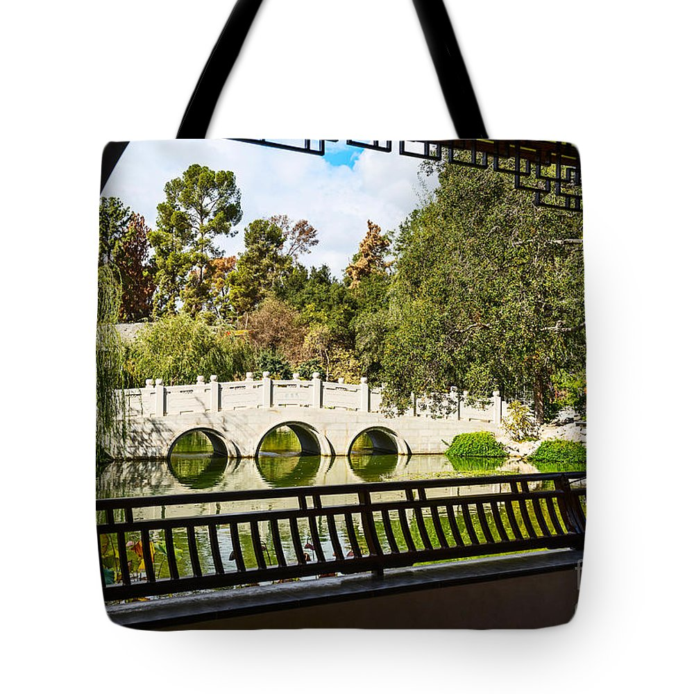 Chinese Garden Tote Bag featuring the photograph Chinese Garden Window by Jamie Pham
