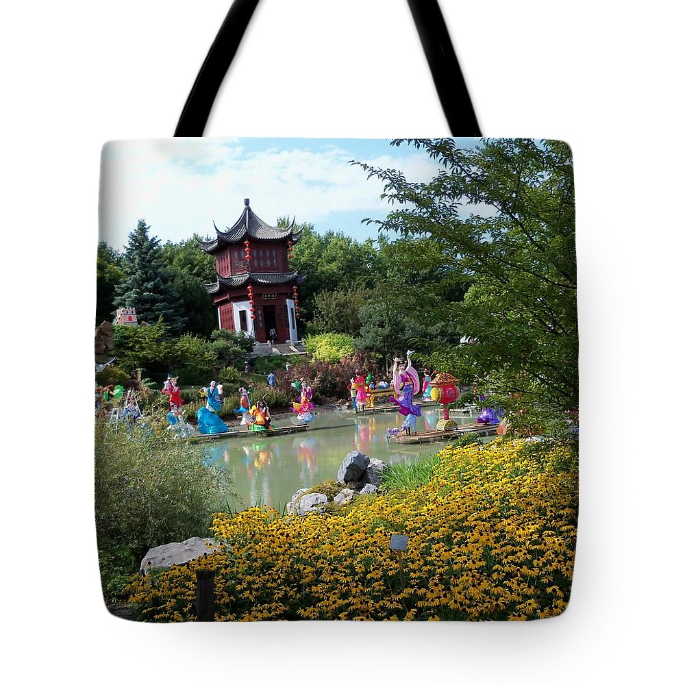 Garden Landscape Tote Bag featuring the photograph Chinese Garden With Gazebo by Lingfai Leung