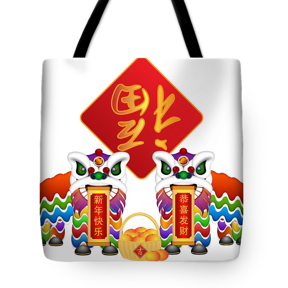Chinese Tote Bag featuring the photograph Chinese Lion Dance Pair With Symbols Illustration by Jit Lim