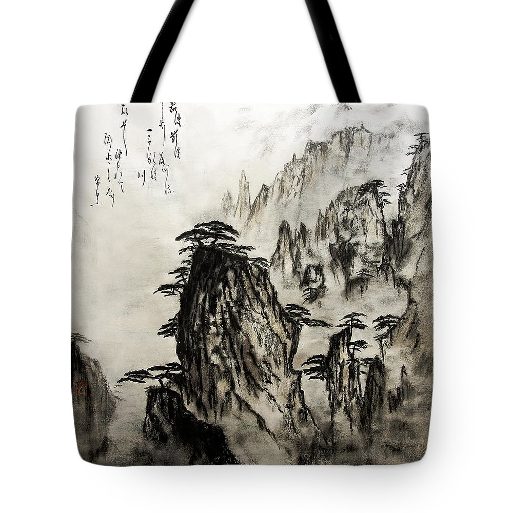 Calm Tote Bag featuring the painting Chinese Mountains With Poem In Ink Brush Calligraphy Of Love Poem by Peter v Quenter