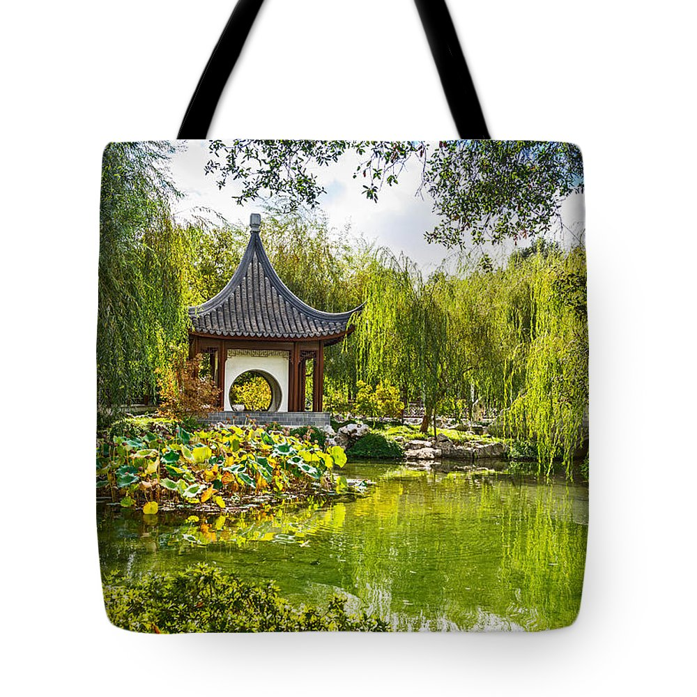 Chinese Garden Tote Bag featuring the photograph Chinese Pagoda by Jamie Pham