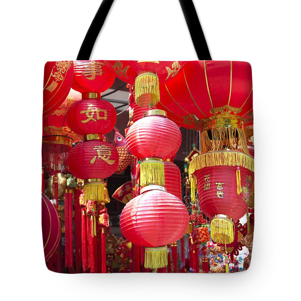 Art Tote Bag featuring the photograph Chinese Red Lanterns by Jacek Malipan